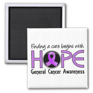 Cure Begins With Hope 5 General Cancer 2 Inch Square Magnet