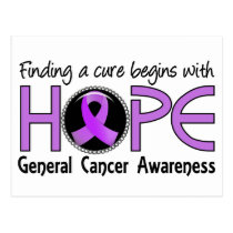 Cure Begins With Hope 5 General Cancer Postcard