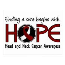 Cure Begins With Hope 5 Head and Neck Cancer Postcard