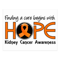 Cure Begins With Hope 5 Kidney Cancer Postcard
