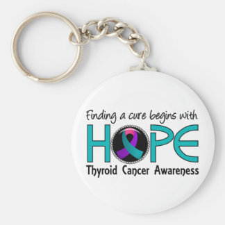 Cure Begins With Hope 5 Thyroid Cancer Basic Round Button Keychain