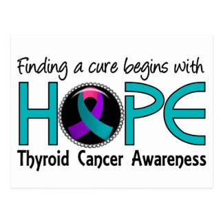 Cure Begins With Hope 5 Thyroid Cancer Postcard