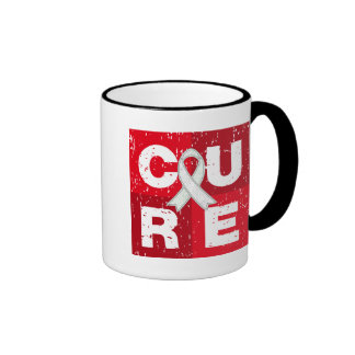 CURE Bone Cancer Distressed Cube Ringer Coffee Mug