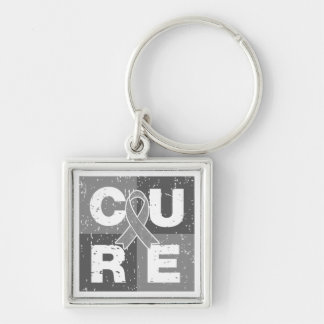 CURE Brain Cancer Distressed Cube Keychain