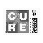CURE Brain Cancer Distressed Cube Postage Stamp