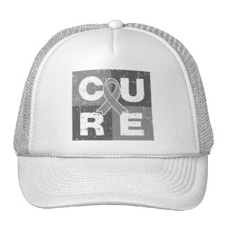 CURE Brain Tumor Distressed Cube Trucker Hat