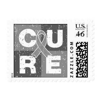 CURE Brain Tumor Distressed Cube Postage Stamp