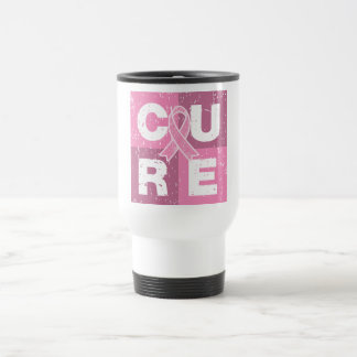 CURE Breast Cancer Distressed Cube Coffee Mugs