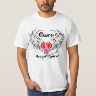 Cure Breast Cancer Heart Tattoo Wings T-Shirt