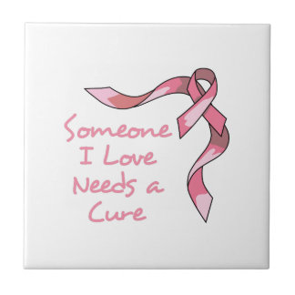 CURE CANCER RIBBON CERAMIC TILES