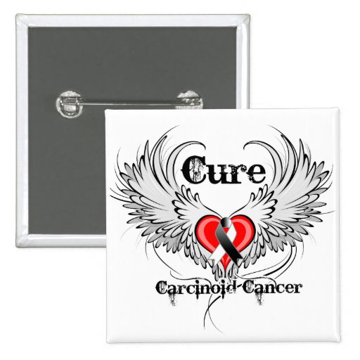 Cure Carcinoid Cancer Heart Tattoo Wings Pinback Button