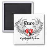Cure Carcinoid Cancer Heart Tattoo Wings Fridge Magnets