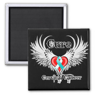 Cure Cervical Cancer Heart Tattoo Wings Fridge Magnets