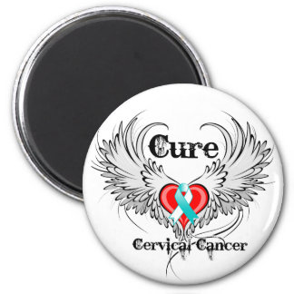Cure Cervical Cancer Heart Tattoo Wings Magnet