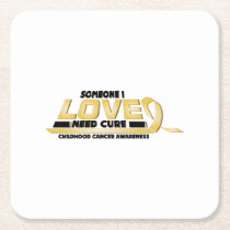 Cure Childhood Cancer Awareness Square Paper Coaster