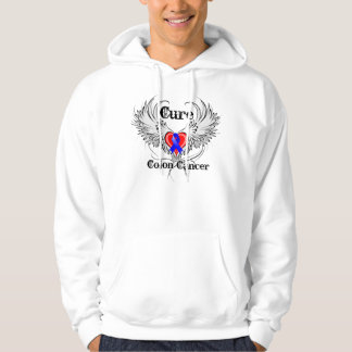 Cure Colon Cancer Heart Tattoo Wings Hooded Pullover