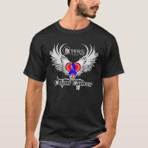 Cure Colon Cancer Heart Tattoo Wings T-Shirt
