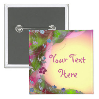 Cure colorful flower creepers pinback button