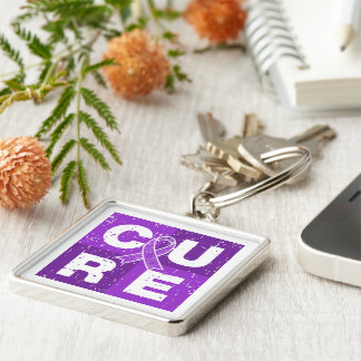 CURE Crohn's Disease Distressed Cube Keychain