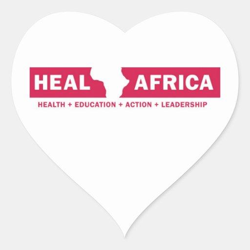 CURE el corazón de ÁFRICA Pegatina En Forma De Corazón