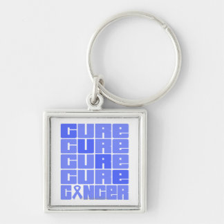 CURE Esophageal Cancer Collage Silver-Colored Square Keychain