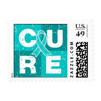 CURE Gynecologic Cancer Distressed Cube Postage Stamp