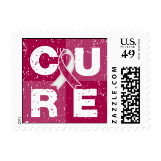 CURE Head Neck Cancer Distressed Cube Postage Stamp