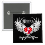 Cure Head Neck Cancer Heart Tattoo Wings 2 Inch Square Button