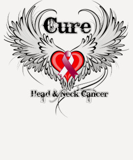 Cure Head Neck Cancer Heart Tattoo Wings Tee Shirts