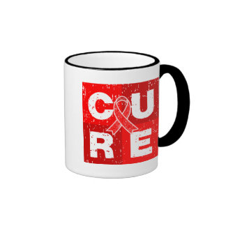 CURE Heart Disease Distressed Cube Mugs