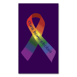 Cure Homophobia Awareness Ribbon Magnetic Business Card