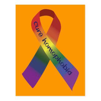 Cure Homophobia Awareness Ribbon Postcard