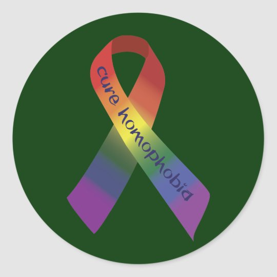 Cure Homophobia Ribbon Classic Round Sticker
