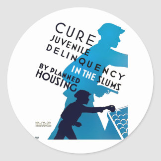Cure Juvenile Delinquency in the Slums Classic Round Sticker
