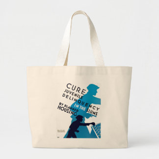 Cure Juvenile Delinquency in the Slums Large Tote Bag