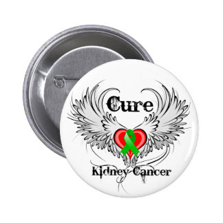 Cure Kidney Cancer Heart Tattoo Wings Pinback Button