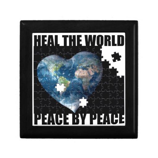 Cure la paz de mundo por paz cajas de regalo