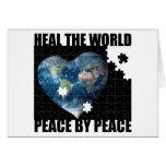 Cure la paz de mundo por paz tarjetas