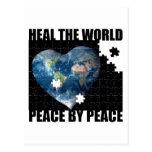 Cure la paz de mundo por paz tarjetas postales