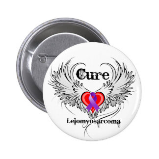 Cure Leiomyosarcoma Heart Tattoo Wings Pinback Button