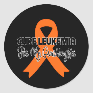 Cure Leukemia For My Granddaughter Classic Round Sticker
