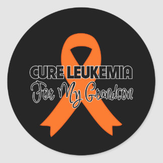 Cure Leukemia For My Grandson Round Stickers