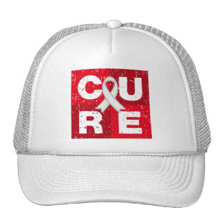 CURE Lung Cancer Distressed Cube Trucker Hat