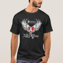 Cure Lung Cancer Heart Tattoo Wings T-Shirt