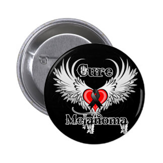 Cure Melanoma Heart Tattoo Wings Pinback Button