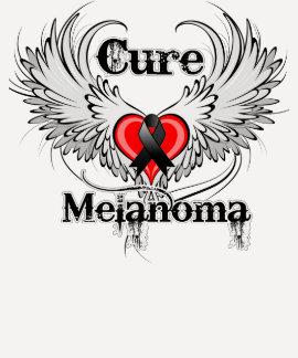 Cure Melanoma Heart Tattoo Wings Tee Shirt