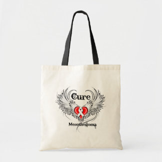Cure Mesothelioma Heart Tattoo Wings Bag