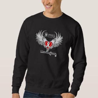 Cure Mesothelioma Heart Tattoo Wings Pullover Sweatshirt