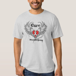 Cure Mesothelioma Heart Tattoo Wings T-Shirt