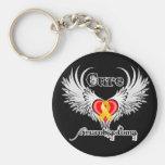 Cure Neuroblastoma Heart Tattoo Wings Keychain
